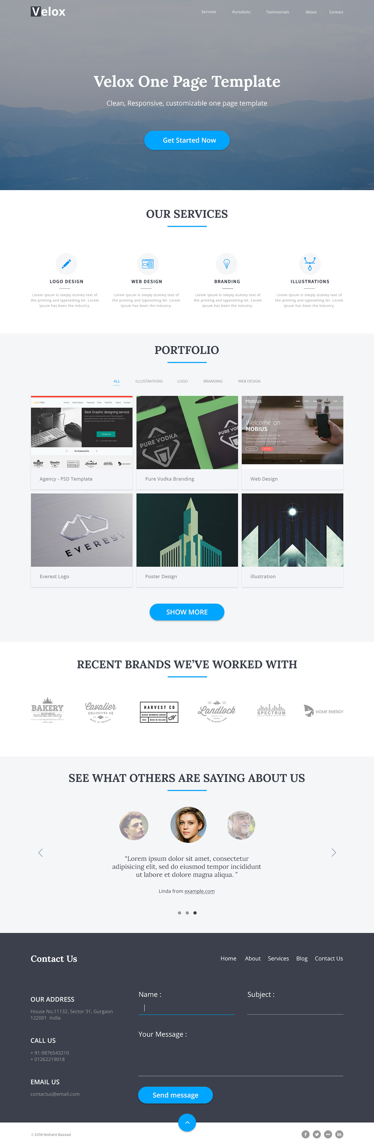 Velox - One Page Free HTML Template | Free HTML5 Templates