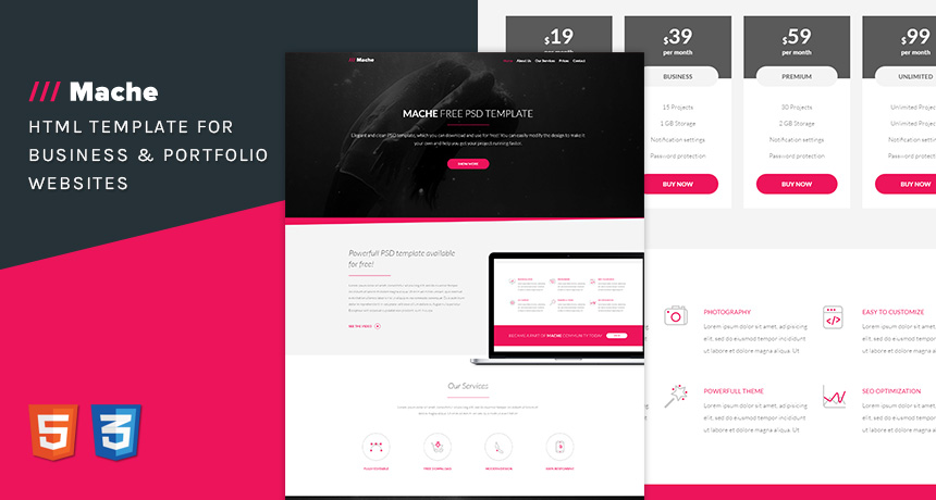 Mache html template for business free html5 templates accmission
