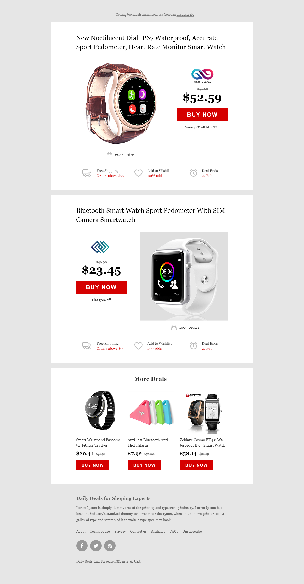 Daily Deals Ecommerce Website Newsletter