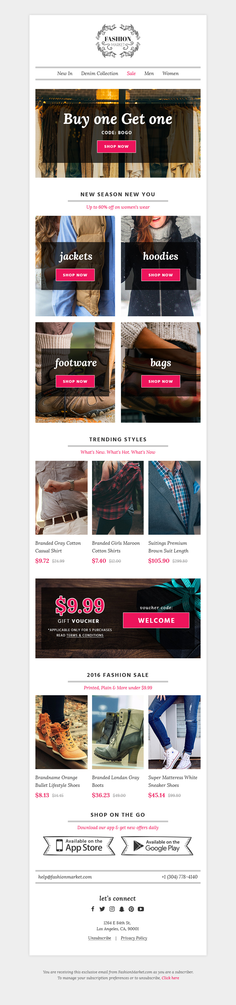 FashionMarket ECommerce Newsletter PSD HTML Template Free HTML - Newsletter html template