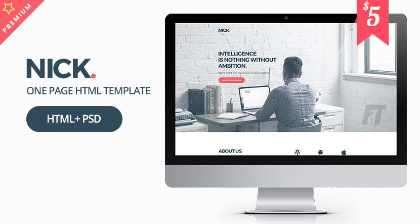 NICK Design – One Page Agency Website Template